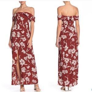 Show me your mumu floral red slit maxi dress xs
